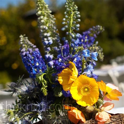 blue and yellow centerpieces wedding ideas