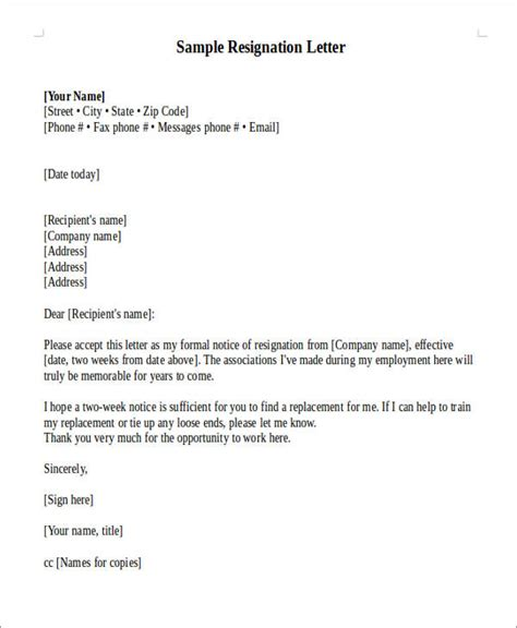 Typical Resignation Letter by Sle Official Resignation Letter