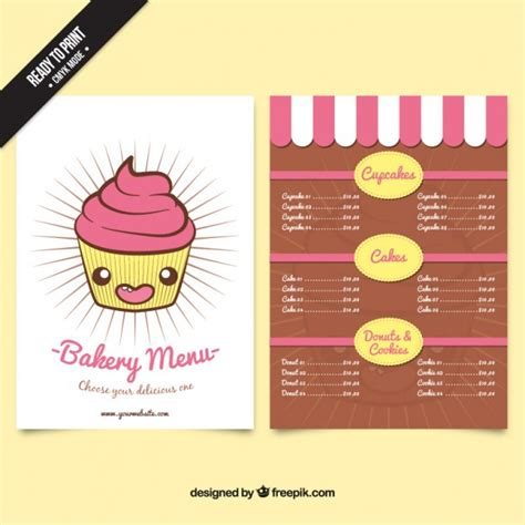 nice cupcake bakery menu template vector free download