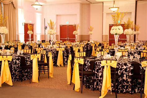 Black White and Yellow Reception   Black and White Wedding