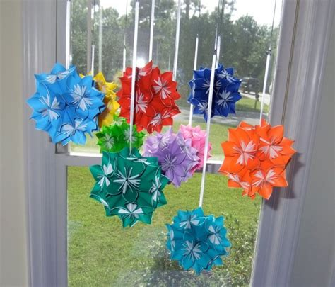 Origami Flower Mobile - rainbow origami flower mobile aftcra
