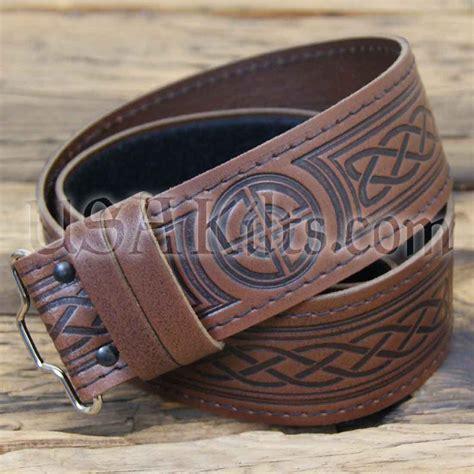 brown black celtic leather embossed kilt belt usa kilts