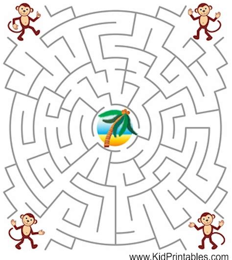 printable monkey maze printable mazes for kids