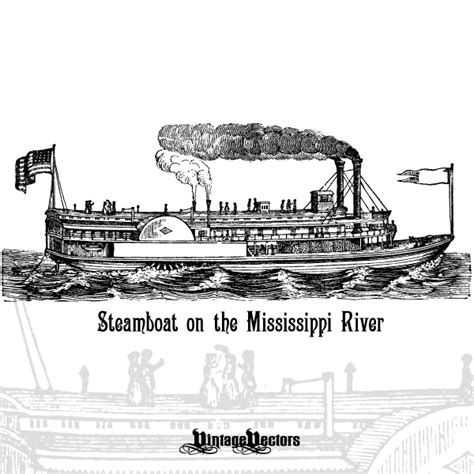 steamboat art vector art of an antique steamboat on the mississippi