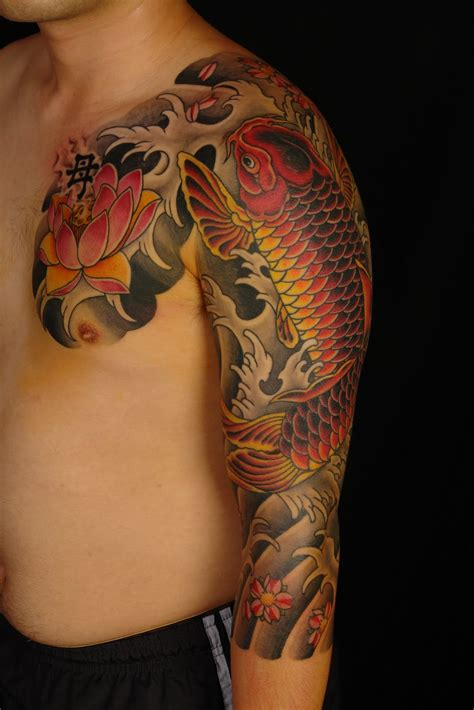 japanese design tattoo sleeve shane tattoos japanese koi sleeve
