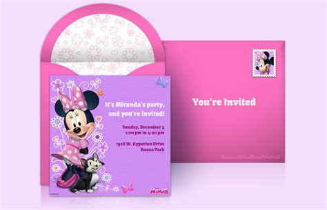 Pageplus Minimouse Greeting Card Template by Free Disney Invitations Disney Invitations Punchbowl