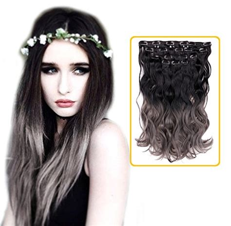 Hair Extension Clip Curly Ombre Silver Gray Abu Hairclip Keriting Curl creamily 174 black to grey 2 tone ombre color wavy clip in hair extensions 8 pieces 18 quot f