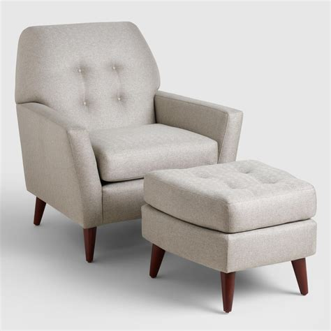 armchair and ottoman sets vapor gray tufted arlo chair and ottoman set world market