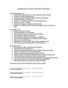 Contract Letter Format For Teachers Education World Parent Student Contract Template