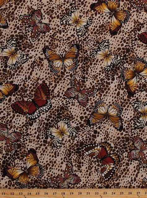 cotton butterflies butterfly animal print insect brown cotton fabric print by the yard nature