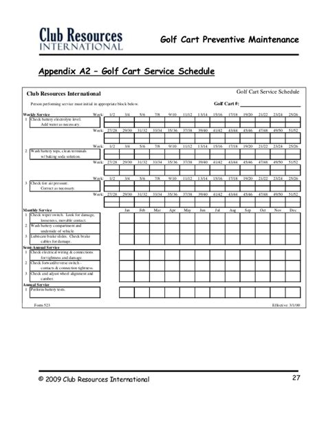 Hvac Service Agreement Template golf cart preventive maintenance