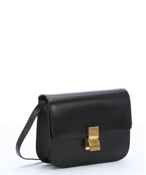 Bag 2 In 1 Nbwrtvg4hh lyst c 233 line black leather medium classic box shoulder bag in black