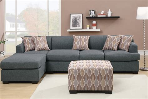 Sectional Sofa With Chaise And Ottoman by Blue Grey Blended Linen L Shape Sofa Sectional Ottoman