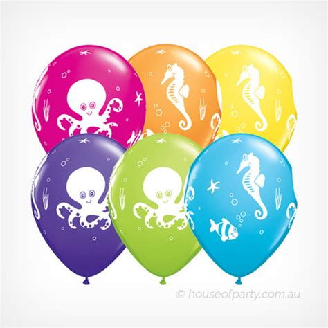 balloon latex 6 pack fun sea creatures – house of party