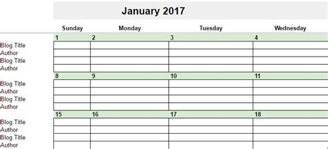 2017 Calendar In Google Sheets