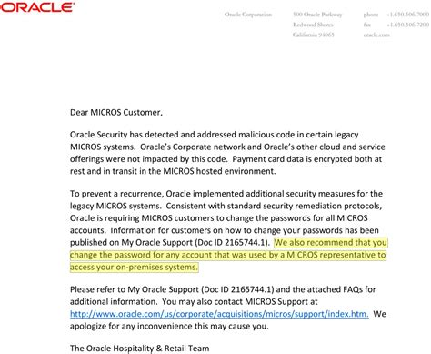 Customer Update Letter Visa Alert And Update On The Oracle Breach