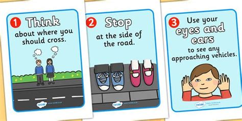 printable road safety posters road crossing safety posters safety safe crossing road