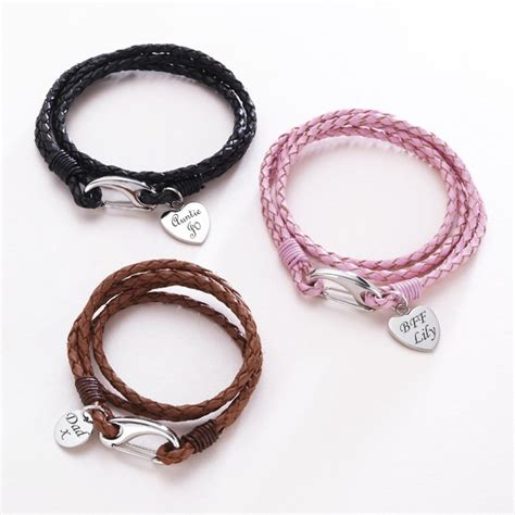 leather wrap bracelet with charms leather wrap bracelet engravable charm various colours charming engraving