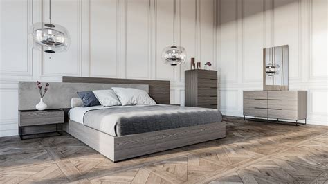 nova bedroom set nova domus enzo italian modern grey oak fabric bedroom set