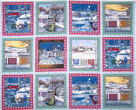 Quilt Fabric Panels by New Winter Quilts Quilt Top Quilt Blocks Pillow