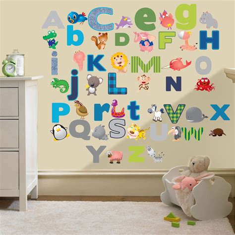 wall stickers for kids bedrooms childrens alphabet letters wall stickers decals nursery