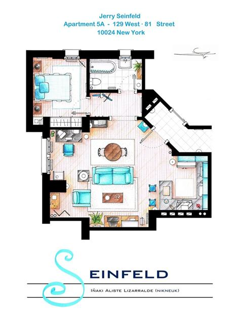 seinfeld appartment 9 famous floorplans from your favorite tv shows