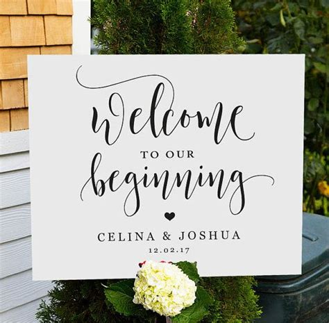 wedding signs template welcome to our beginning sign printable wedding welcome