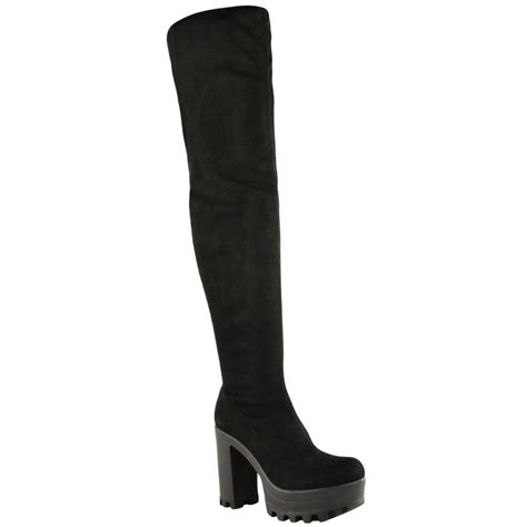 alysha black faux suede knee high block heel boots