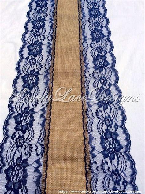 NAVY WEDDINGS/Navy Blue Burlap Lace Table Runner/ 3ft 10ft