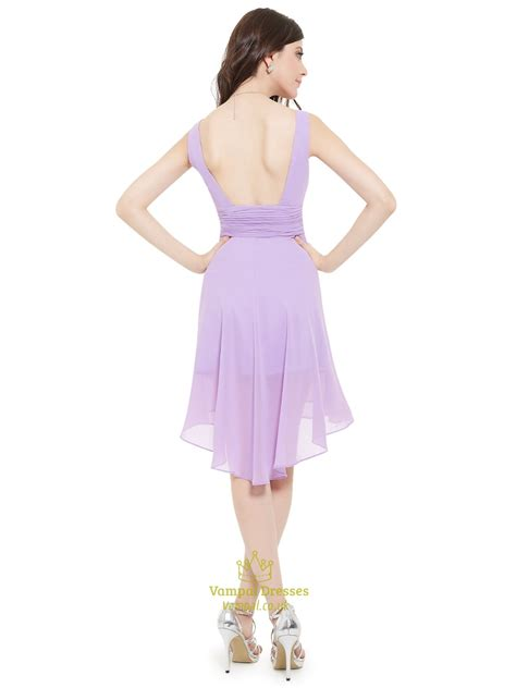 V Neck Chiffon Dress lilac v neck sleeveless knee length chiffon bridesmaid
