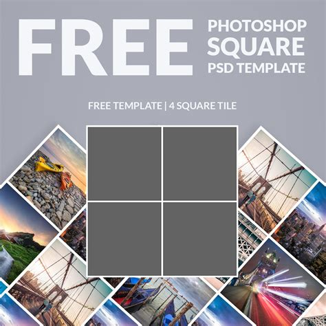 free photoshop template photo collage square download now