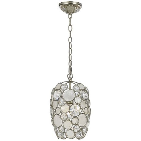 Pendant Lighting With Crystals Palla Antique Silver One Light Mini Pendant With White Capiz Shell And