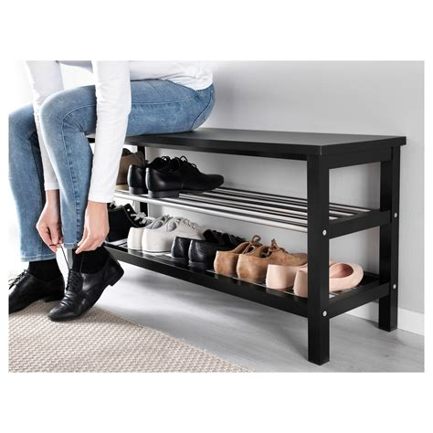 bench with storage for shoes tjusig bench with shoe storage black 108x50 cm ikea