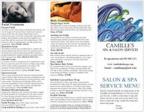 spa amp salon service menu