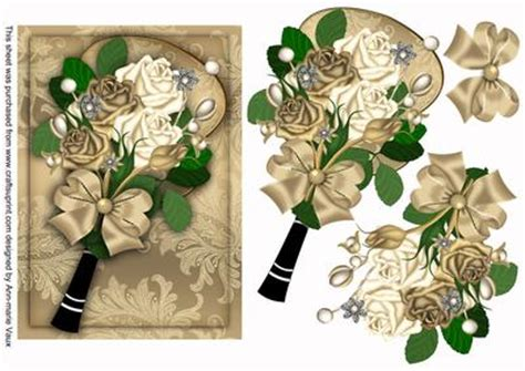 Decoupage Words - gold and bouquet fan decoupage sheet