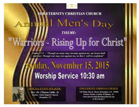 S Day Theme Men S Day For Eternity Christian Church Of Mountain