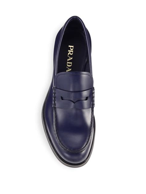 prada mens loafer prada creeper leather loafers in blue for lyst