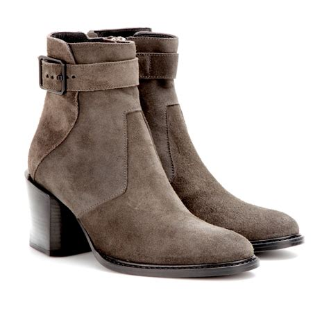 helmut lang suede ankle boots in gray ammo lyst