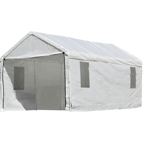 white awning shelterlogic outdoor canopy and enclosure with windows
