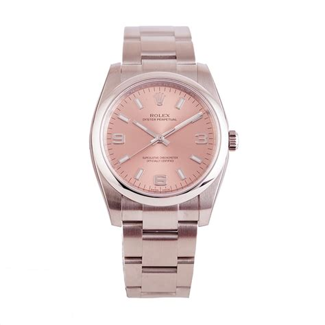 pre owned unworn rolex oyster perpetual 34mm pink