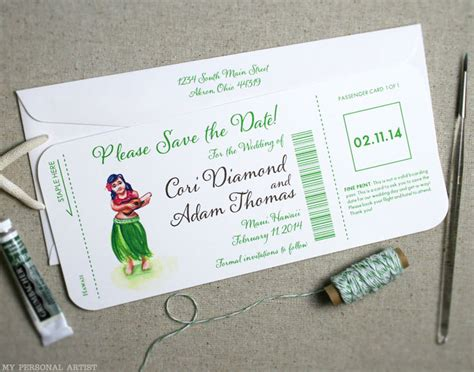 Airline Ticket Gift Card - december 2012 archives custom save the dates unique wedding invitations