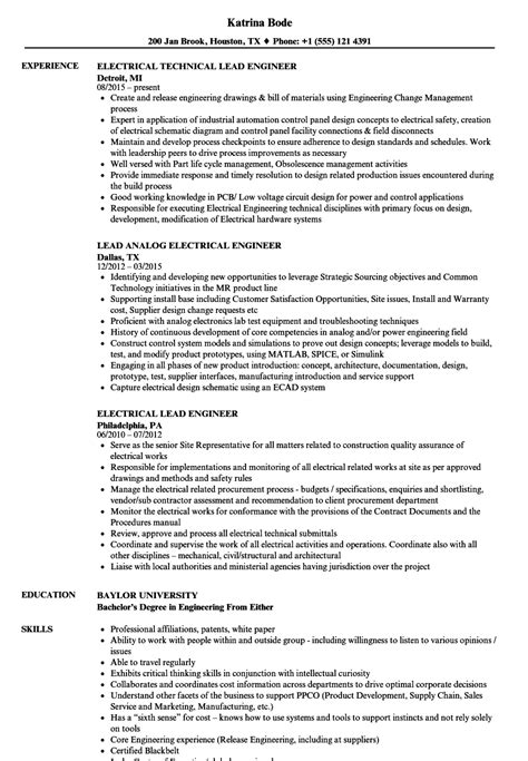 resume format for hoteliers lead electrical engineer electrical lead engineer resume sles velvet