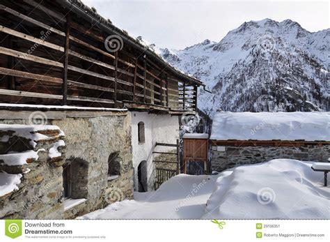 alpine architecture italian alps gressoney valley alpine architecture stock