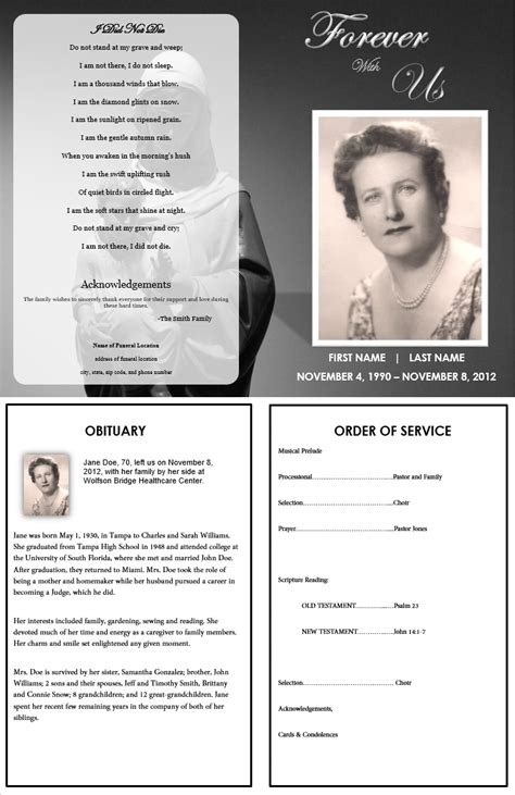 funeral templates free the funeral memorial program