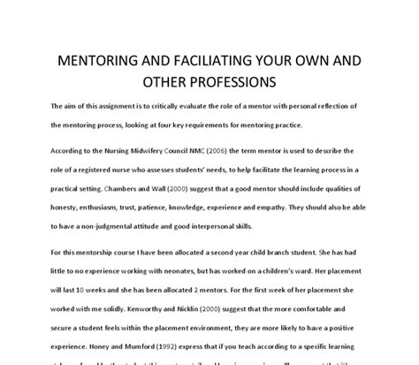 Mentorship Essays by The Aim Of This Assignment Is To Critically Evaluate The Of A Mentor With Personal