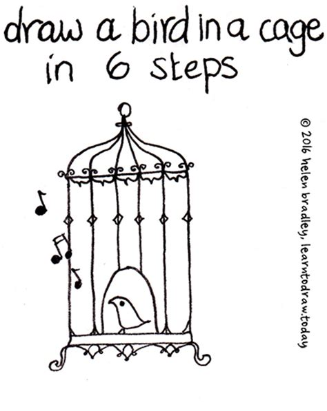 how to do doodle today simple bird cage drawing