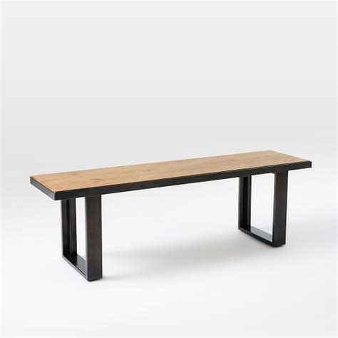 oak dining table and benches industrial oak steel dining bench west elm