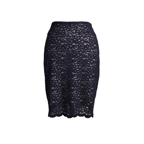 navy blue lace pencil skirt with scalloped hem and liner