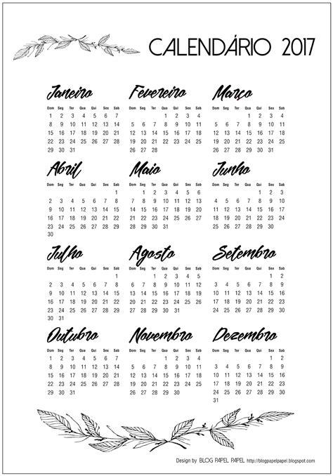 Calendario De 2017 Calend 225 2017 Para Papel Papel