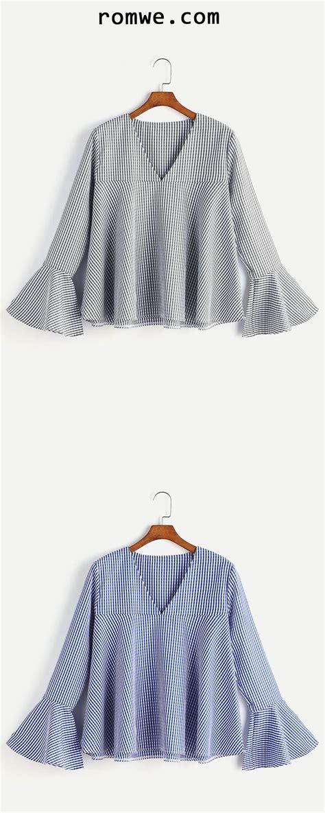 Bell Sleeve V Neck Gingham Blouse best 25 bell sleeves ideas on bell sleeve top
